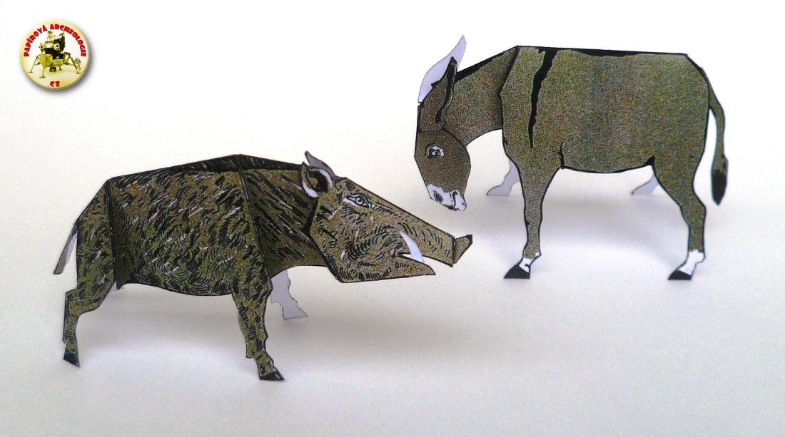 Zvířata - osel a kanec